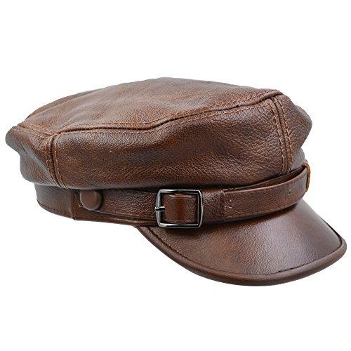 Sandy Ting Unisex Genuine Leather Greek Fisherman Sailor Fiddler Driver Hat Flat Cap