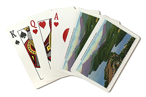 Adirondack Mts, New York - Aerial View of Lakes Placid and Mirror (Playing Card Deck - 52 Card Poker Size with - Mirror Adirondacks Lake