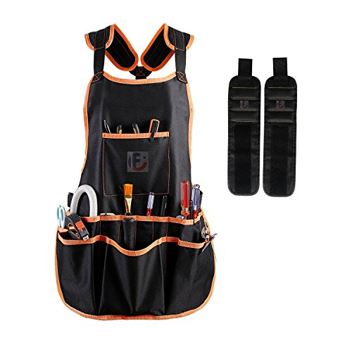 Strap Smock (Figoo Set of 3(1 Apron,2 Wristband)Black Canvas Work Apron with 16 Tool Pockets Cross-Back Straps Adjustable,Waterproof & Protective.Magnetic Wristband with Strong Magnets,Black)