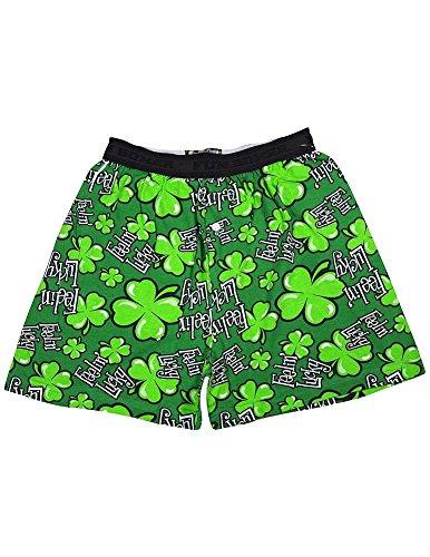Lucky Boxers Boxer Shorts - Fun Boxers - Mens Feelin Lucky Boxer Shorts, Green 34404-Small