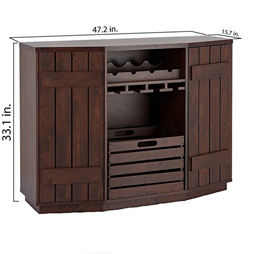 51qgjDM9XlL - Furniture of America Ralley Vintage Walnut Transitional Removable Crate Server
