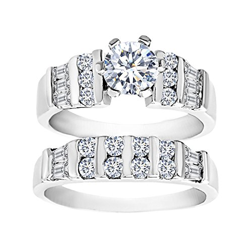 - 18K White Gold Over Sterling Silver Round Baguette Cubic Zirconia Engagement Ring Set (Size 8)