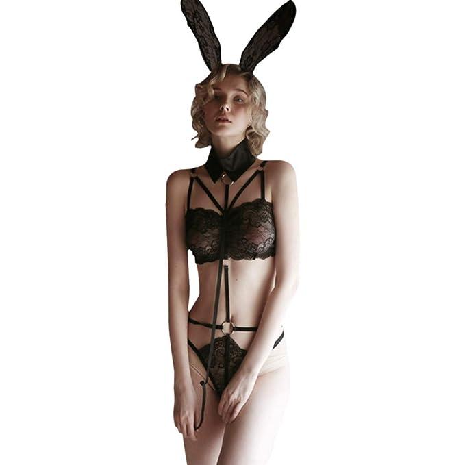 e2ce2393aad Sexy Sleepwear for Women Plus Size Lace Lingerie Nightwear Underwear  Babydoll Jumpsuit Rabbit Set  Amazon.co.uk  Clothing