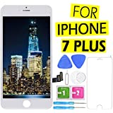 for iPhone 7 Plus Screen Replacement (5.5 inch) + Touch LCD Screen Digitizer Display Pre-Assembled Kit with Screen Protector and Repair Tools (White)