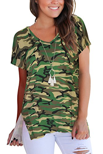 T Shirt for Women Short Sleeve Tops and Shirts V Neck Casual Tees Green S