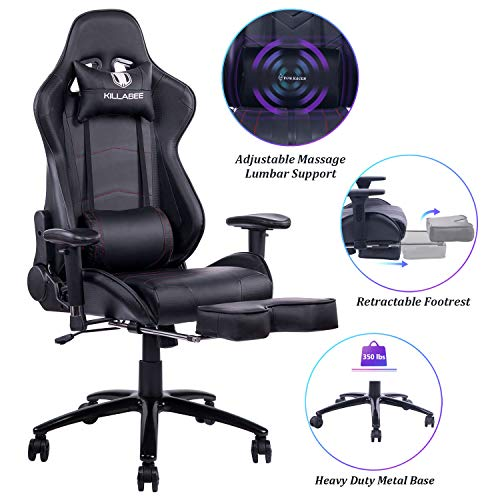 Blue Whale Massage Gaming Chair – Big and Tall 350lbs High Back Racing Computer Desk Office Chair Swivel Ergonomic Executive Leather Chair with Footrest and Adjustable Armrests, Black