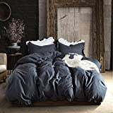 Queen Duvet Cover Set Lightweight Soft Solid Color 3PC Bedding Set with Exquisite Flouncing by Hyprest Dark grey
