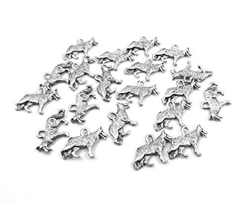 Set of Twenty (20) Silver Tone Pewter German Shepherd Charms
