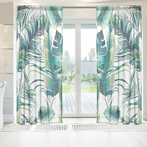 INGBAGS Summer Palm Tree And Banana Leaves Voile Window Long Sheer Curtain 2 Panels Cat With Butterfly Scenery Print Tulle Polyester for Door Window Room Decoration 55x84 Inch ,Set of 2