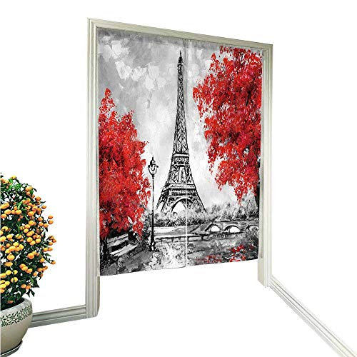 Jiahonghome Linen Cotton Door Curtainoil Paint Paris European City Landscape France Wallpaper Eiffel Tower Noren Doorway Curtain Tapestry 33.5