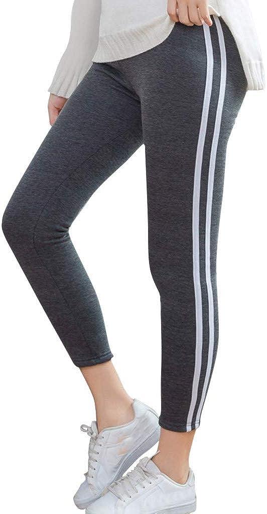 Joysale Womens Running Yoga Jogger Pants with White Stripe Side High Waist Sweatpants