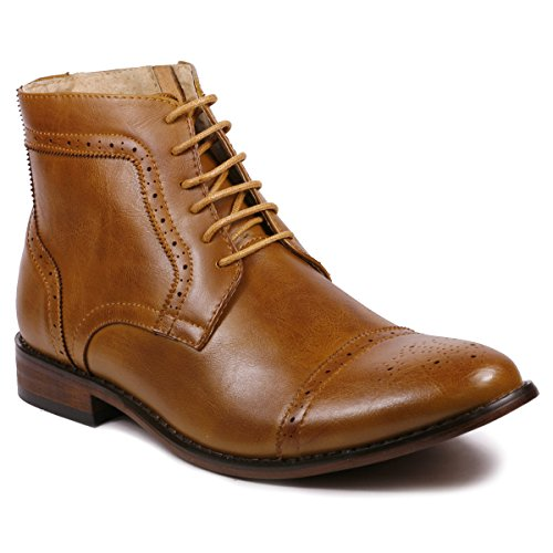 Metrocharm MC123 Men's Cap Toe Lace up Dress Casual Ankle Boot (12, Tan)