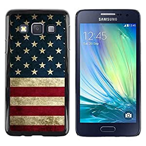 FECELL CITY // Duro Aluminio Pegatina PC Caso decorativo Funda Carcasa de Protección para Samsung Galaxy A3 SM-A300 // Flag States United Red White Blue