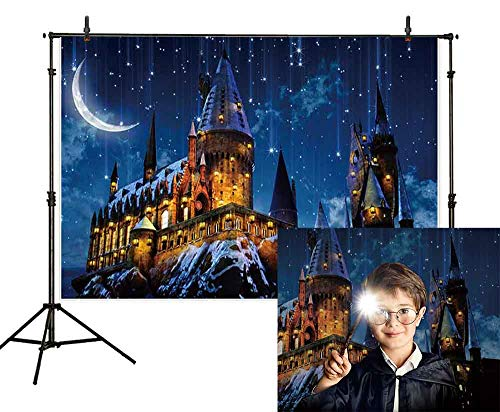 Halloween Night Moon (Allenjoy 8X6ft Magic Castle Witch Wizard Hogwarts Backdrop Photography Halloween Night Moon Background Sorcerer Party Banner Decors for Child Kid Portrait Photo Booth)