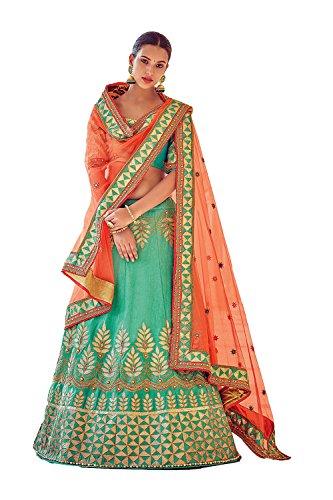 IWS Womens Green Striking Lehenga Choli With Crystals Stones Work 79636