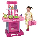 Large Electronic Portable Pink Childrens Kids Pretend Cooker Kitchen Toy Role Play Game Set With Light & Sound Xmas Gift