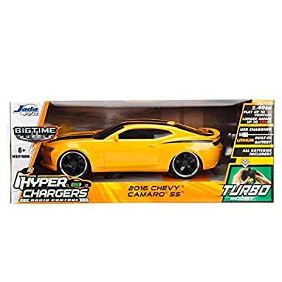 Jada 98728 Toys Hyperchargers 1: 16 Big Time Muscle R/C '16 Chevy Camaro Ss Vehicle, 1/16 Scale, Yellow With Black Stripes: Toys & Games