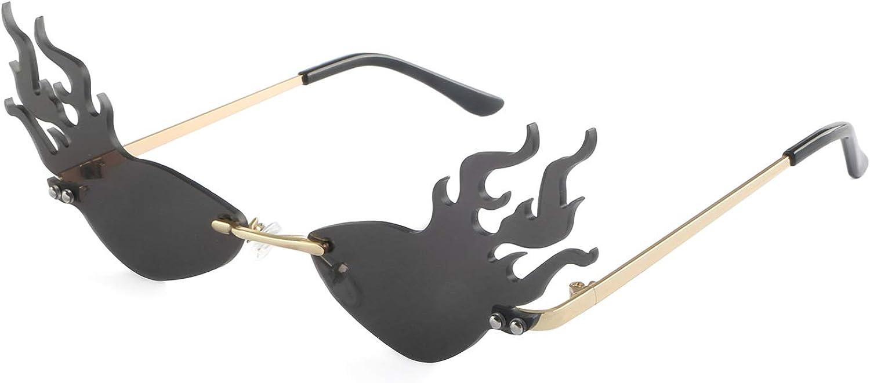 HDCRAFTER Fashion Fire Flame Sunglasses Women Rimless Wave Sun Glasses For Men Eyewear Luxury Trending Narrow