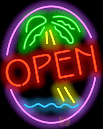Palm Tree Open Neon Sign by Jantec Sign Group