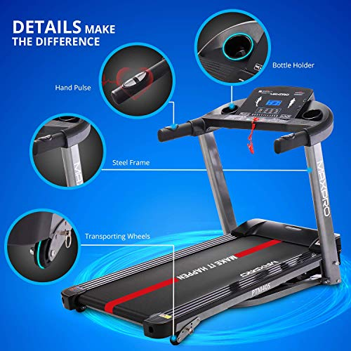 MAXPRO PTM405 2HP(4 HP Peak) Folding Treadmill, Electric Motorized Power Fitness Running Machine with LCD Display and Mobile Phone Holder Perfect for Home Use(Free Installation & Demo)