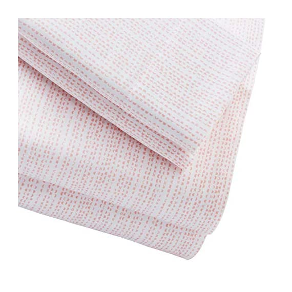 Amazon Brand – Rivet Half Moon Sateen 100% Cotton Bed Sheet Set, King, Peach-Pink/White - From their satin-like feel and subtle sheen to their abstract pattern, these sateen cotton sheets are ready to envelop you in modern style and texture. Soft and lightweight, they will blend well in a modern or industrial setting. 100% Cotton Imported - sheet-sets, bedroom-sheets-comforters, bedroom - 51qgmJwByjL. SS570  -