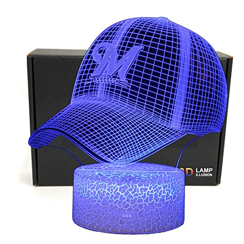 DGLighting MLB Team 3D Optical Illusion Smart 7 Colors Cap Shape LED Night Light Table Lamp with USB Power Cable