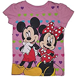 Disney Mickey and Minnie Mouse Heart Background T-Shirt (3T)