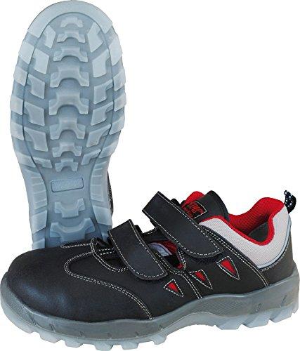 Sicherheits Sandale Nitras Sportstep Summer 7302, S1P, Kunststoffkappe+ durchtrittsicher,schwarz/rot, ESD, Gr.: 36 - 48