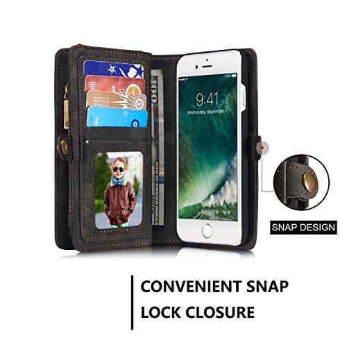 JIALUN-Caja del teléfono o cubierta Cubierta elegante de la caja del final de la carpeta desprendible del iPhone para el iPhone 7 Protege tu teléfono ( Color : Coffe ) Black