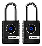 Master Lock 4401DLH Bluetooth Outdoor Padlock with Easy Backup Keypad Entry, 2, 2-Pack