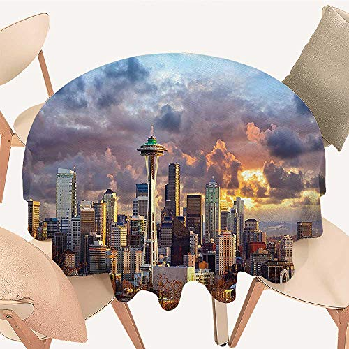 Round Fitted Tablecloth Seattle Skyline at Sunset WA USA Sun Lights Through Dramatic Clouds Scene for All Occasions, 35 INCH Round ()