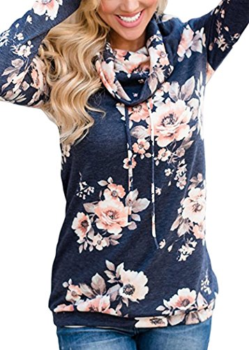 Angashion Womens Sweatshirt Cowl Neck Floral Print Drawstring Long Sleeve Tunic Tops Shirt, Dark Grey, Tag S(US 4-6) (Top Tunic Drawstring)