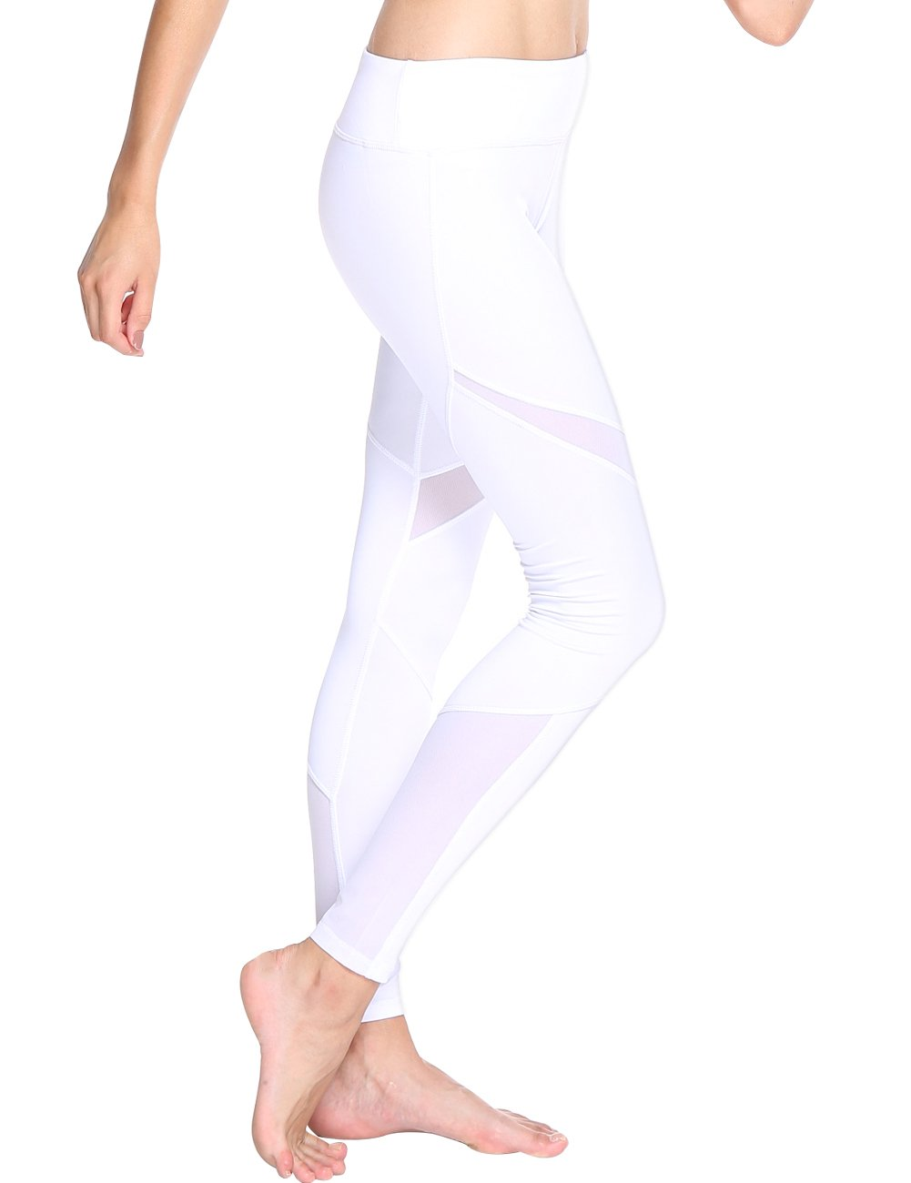 OVESPORT Women Sports Yoga Leggings Mesh, High Waisted Skinny Fitness Workout Pants(2069,White,M)
