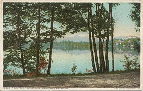 Historic Pictoric Postcard Print | Glimpse of Mirror Lake, Adirondack Mountains, N.Y, 1898 | Vintage Fine - Mirror Lake Adirondacks