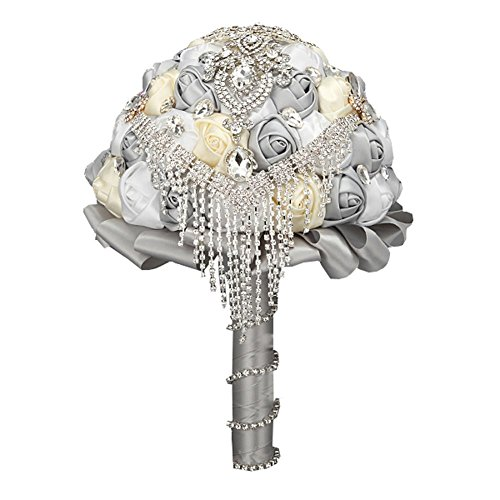 Wedding Bouquet ,Bride Holding Flowers , Water Drops (Silver gray + Beige + white) by ()