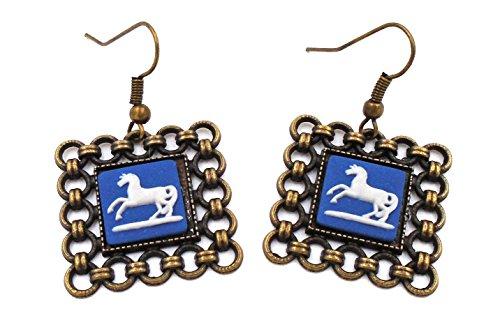 Cameo Wedgwood Earrings (Wedgwood: Brass & Blue Jasperware Earrings