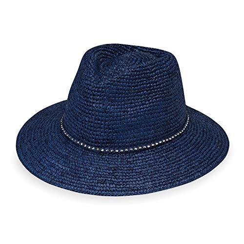 (Wallaroo Hat Company Women's W Collection Malibu Fedora - Navy - Raffia)