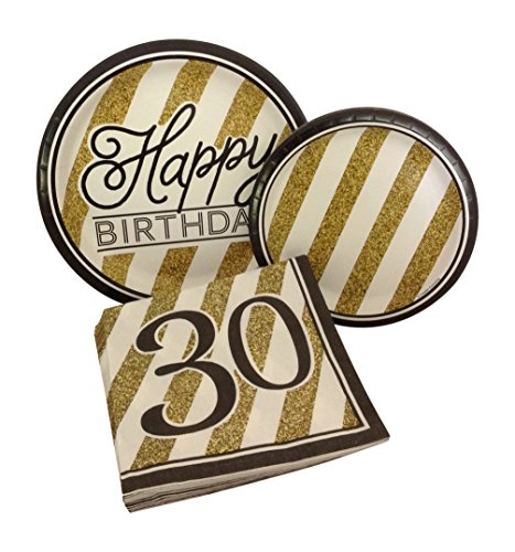Black and Gold Happy 30th Birthday Party Bundle with Paper Plates and Napkins for 8 Guests ()
