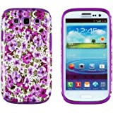 DandyCase 2in1 Hybrid High Impact Hard Lavender Garden Floral Pattern + Purple Silicone Case Cover For Samsung Galaxy S3 i9300 + DandyCase Screen Cleaner