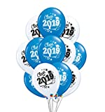 Class of 2019 Graduation 11' Latex Balloons Pack of 12 (Blue & White)