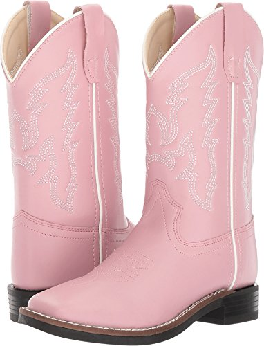 Old West Kids Boots Baby Girl's Square Toe Leatherette (Toddler/Little Kid) Pink 1 Little Kid M M