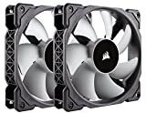 Corsair CO-9050039-WW ML Series ML120 120 mm Low Noise High Pressure Premium Magnetic Levitation Fan - Black/Grey (Pack of 2)
