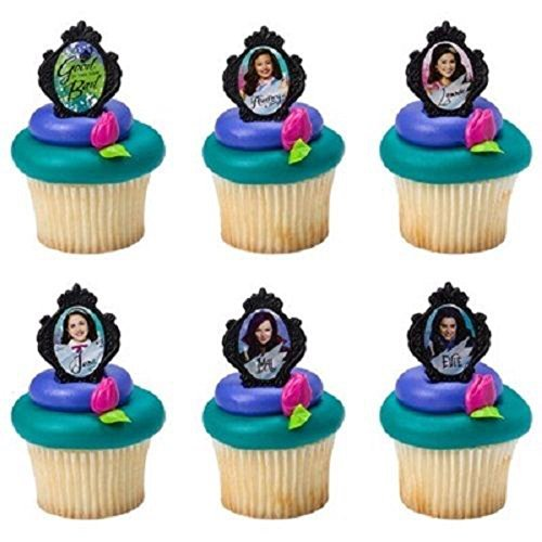 24 Disney Descendants Cake Cupcake Rings Birthday Party Toppers Favors