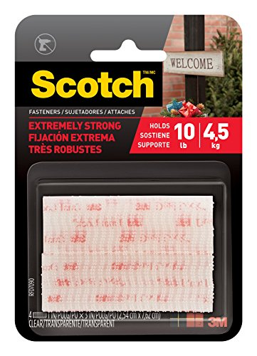 Scotch(R) All-Weather Fasteners, 2 Sets of 1 Inch x 3 Inches, Strips, Clear (Interlocking Fasteners)