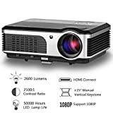 CAIWEI HD Movie Projector, LED 2600 Lumen Max 150