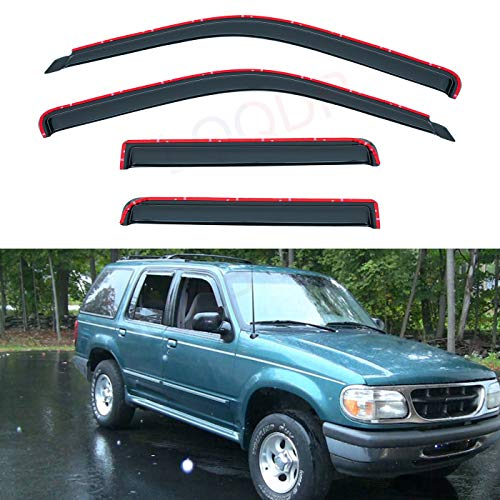 LQQDP Set of 4 Front+Rear Smoke Sun/Rain Guard In-Channel Mount Tape-On Acrylic Window Visors For 91-01 Ford Explorer 4-Door 01-05 Sport Trac 97-01 Mercury Mountaineer