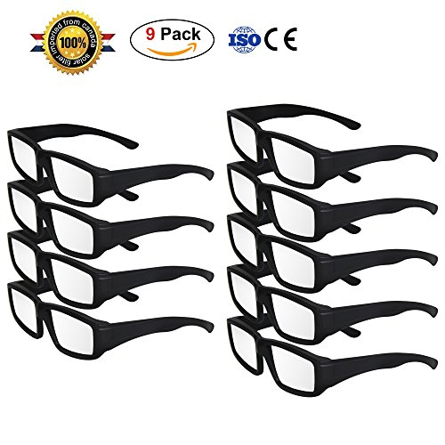 TOLOCO Solar Eclipse Glasses,CE and ISO Certified Safe Solar Shades Filter for Solar Eclipse Viewing (black)