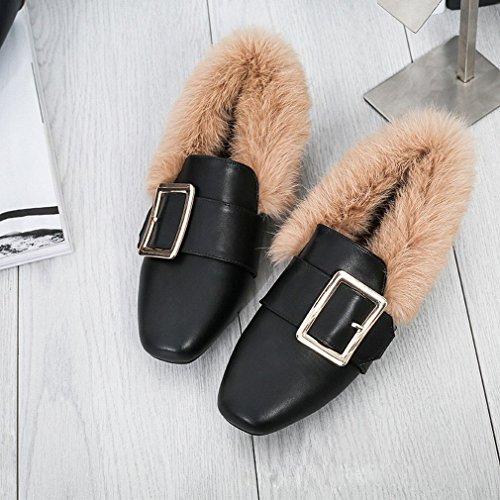 Velours Américaines Latérales Des Plates Marée Chaussures Avec L'hiver Automne Une Femmes Que Européen Ainsi Zh De Seule Et Pois Maomao pqgR8R