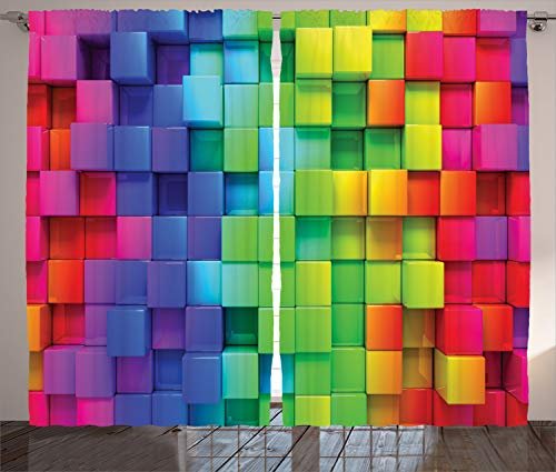 Ambesonne Colorful Curtains, Rainbow Colored Contour Display Futuristic Block Brick-Like Geometric Artisan, Living Room Bedroom Window Drapes 2 Panel Set, 108 W X 96 L Inches, Rainbow Colors