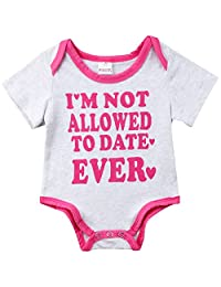 0b6a3136ee6f Annvivi Infant Baby Girl I m Not Allowed to Date Ever Letter Romper  Jumpsuit Bodysuit